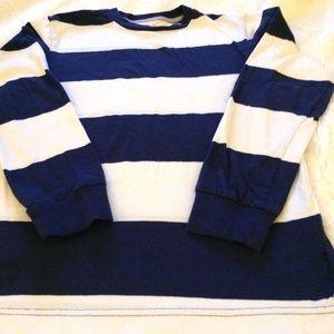 OLD NAVY BLUE & WHITE STRIPE LONG SLEEVE T-SHIRT L